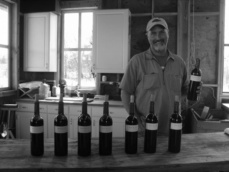 Will Bucklin pouring a selection of his wines in the barn.