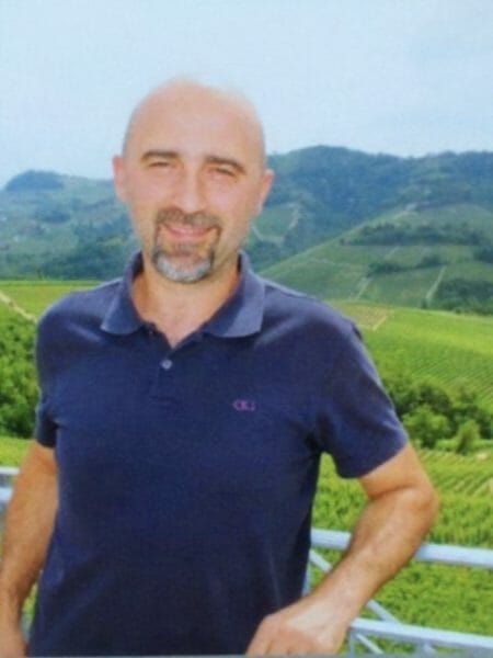 Gianpaolo Pira on the terrace at the winery overlooking Marenca Vineyard