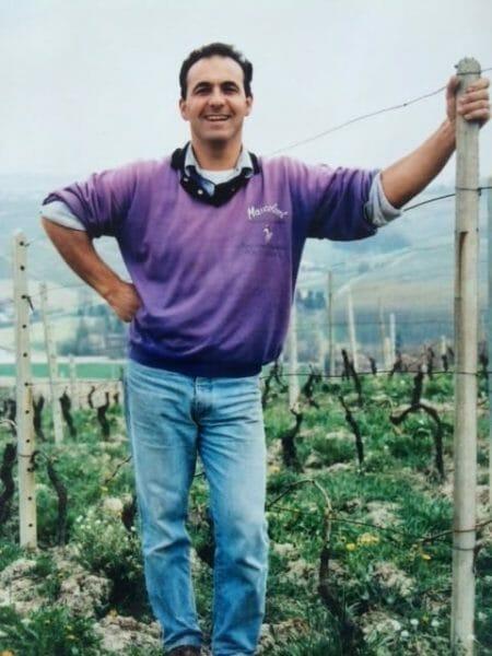 Renato Corino in the Arborina Vineyard 1986