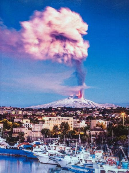 Mt Etna eruption from Catania